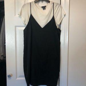 Black Slip Dress with White T Shirt Under